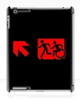 Accessible Means of Egress Icon Exit Sign Wheelchair Wheelie Running Man Symbol by Lee Wilson PWD Disability Emergency Evacuation iPad Case 114