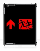 Accessible Means of Egress Icon Exit Sign Wheelchair Wheelie Running Man Symbol by Lee Wilson PWD Disability Emergency Evacuation iPad Case 116