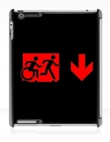 Accessible Means of Egress Icon Exit Sign Wheelchair Wheelie Running Man Symbol by Lee Wilson PWD Disability Emergency Evacuation iPad Case 118