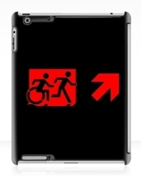 Accessible Means of Egress Icon Exit Sign Wheelchair Wheelie Running Man Symbol by Lee Wilson PWD Disability Emergency Evacuation iPad Case 119