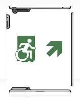 Accessible Means of Egress Icon Exit Sign Wheelchair Wheelie Running Man Symbol by Lee Wilson PWD Disability Emergency Evacuation iPad Case 120