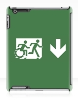 Accessible Means of Egress Icon Exit Sign Wheelchair Wheelie Running Man Symbol by Lee Wilson PWD Disability Emergency Evacuation iPad Case 12