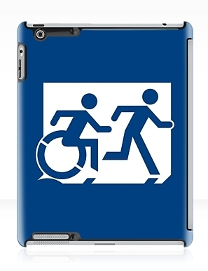 Accessible Means of Egress Icon Exit Sign Wheelchair Wheelie Running Man Symbol by Lee Wilson PWD Disability Emergency Evacuation iPad Case 121