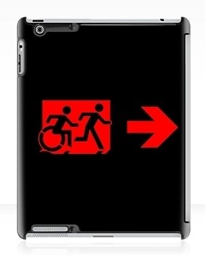 Accessible Means of Egress Icon Exit Sign Wheelchair Wheelie Running Man Symbol by Lee Wilson PWD Disability Emergency Evacuation iPad Case 122