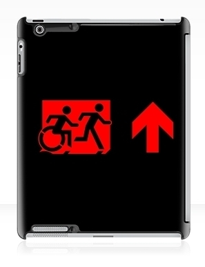 Accessible Means of Egress Icon Exit Sign Wheelchair Wheelie Running Man Symbol by Lee Wilson PWD Disability Emergency Evacuation iPad Case 123