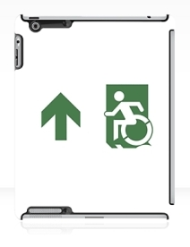 Accessible Means of Egress Icon Exit Sign Wheelchair Wheelie Running Man Symbol by Lee Wilson PWD Disability Emergency Evacuation iPad Case 124