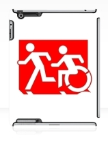 Accessible Means of Egress Icon Exit Sign Wheelchair Wheelie Running Man Symbol by Lee Wilson PWD Disability Emergency Evacuation iPad Case 125
