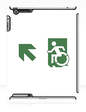 Accessible Means of Egress Icon Exit Sign Wheelchair Wheelie Running Man Symbol by Lee Wilson PWD Disability Emergency Evacuation iPad Case 126