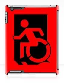 Accessible Means of Egress Icon Exit Sign Wheelchair Wheelie Running Man Symbol by Lee Wilson PWD Disability Emergency Evacuation iPad Case 127
