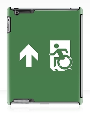 Accessible Means of Egress Icon Exit Sign Wheelchair Wheelie Running Man Symbol by Lee Wilson PWD Disability Emergency Evacuation iPad Case 128