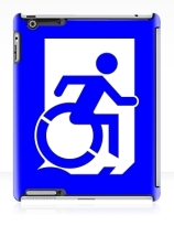 Accessible Means of Egress Icon Exit Sign Wheelchair Wheelie Running Man Symbol by Lee Wilson PWD Disability Emergency Evacuation iPad Case 129