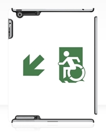 Accessible Means of Egress Icon Exit Sign Wheelchair Wheelie Running Man Symbol by Lee Wilson PWD Disability Emergency Evacuation iPad Case 130