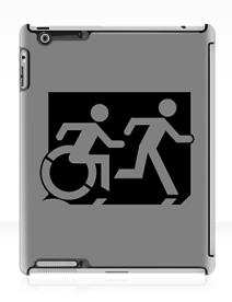 Accessible Means of Egress Icon Exit Sign Wheelchair Wheelie Running Man Symbol by Lee Wilson PWD Disability Emergency Evacuation iPad Case 13