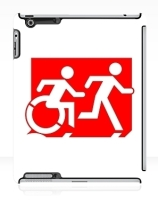 Accessible Means of Egress Icon Exit Sign Wheelchair Wheelie Running Man Symbol by Lee Wilson PWD Disability Emergency Evacuation iPad Case 131