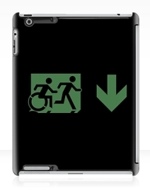 Accessible Means of Egress Icon Exit Sign Wheelchair Wheelie Running Man Symbol by Lee Wilson PWD Disability Emergency Evacuation iPad Case 132
