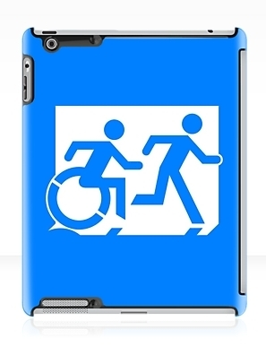 Accessible Means of Egress Icon Exit Sign Wheelchair Wheelie Running Man Symbol by Lee Wilson PWD Disability Emergency Evacuation iPad Case 133
