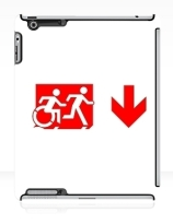 Accessible Means of Egress Icon Exit Sign Wheelchair Wheelie Running Man Symbol by Lee Wilson PWD Disability Emergency Evacuation iPad Case 134