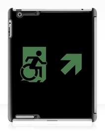 Accessible Means of Egress Icon Exit Sign Wheelchair Wheelie Running Man Symbol by Lee Wilson PWD Disability Emergency Evacuation iPad Case 135