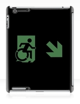 Accessible Means of Egress Icon Exit Sign Wheelchair Wheelie Running Man Symbol by Lee Wilson PWD Disability Emergency Evacuation iPad Case 136