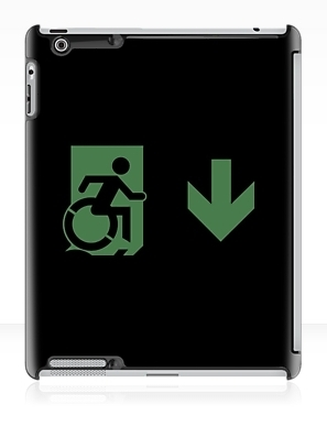 Accessible Means of Egress Icon Exit Sign Wheelchair Wheelie Running Man Symbol by Lee Wilson PWD Disability Emergency Evacuation iPad Case 137
