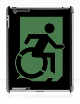 Accessible Means of Egress Icon Exit Sign Wheelchair Wheelie Running Man Symbol by Lee Wilson PWD Disability Emergency Evacuation iPad Case 138