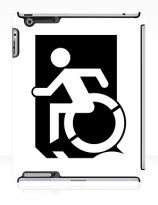 Accessible Means of Egress Icon Exit Sign Wheelchair Wheelie Running Man Symbol by Lee Wilson PWD Disability Emergency Evacuation iPad Case 14