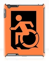 Accessible Means of Egress Icon Exit Sign Wheelchair Wheelie Running Man Symbol by Lee Wilson PWD Disability Emergency Evacuation iPad Case 140