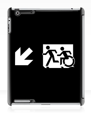 Accessible Means of Egress Icon Exit Sign Wheelchair Wheelie Running Man Symbol by Lee Wilson PWD Disability Emergency Evacuation iPad Case 141