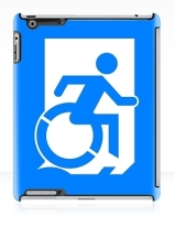 Accessible Means of Egress Icon Exit Sign Wheelchair Wheelie Running Man Symbol by Lee Wilson PWD Disability Emergency Evacuation iPad Case 142