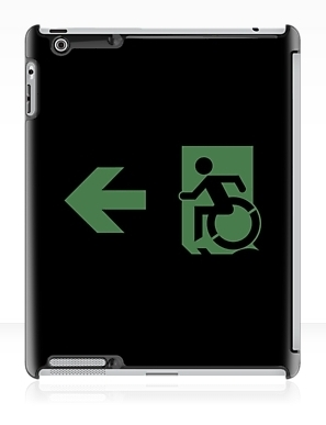 Accessible Means of Egress Icon Exit Sign Wheelchair Wheelie Running Man Symbol by Lee Wilson PWD Disability Emergency Evacuation iPad Case 143