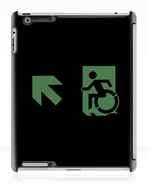 Accessible Means of Egress Icon Exit Sign Wheelchair Wheelie Running Man Symbol by Lee Wilson PWD Disability Emergency Evacuation iPad Case 144