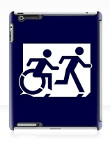 Accessible Means of Egress Icon Exit Sign Wheelchair Wheelie Running Man Symbol by Lee Wilson PWD Disability Emergency Evacuation iPad Case 145