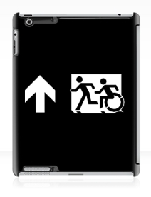 Accessible Means of Egress Icon Exit Sign Wheelchair Wheelie Running Man Symbol by Lee Wilson PWD Disability Emergency Evacuation iPad Case 146
