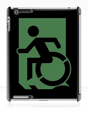 Accessible Means of Egress Icon Exit Sign Wheelchair Wheelie Running Man Symbol by Lee Wilson PWD Disability Emergency Evacuation iPad Case 147