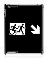 Accessible Means of Egress Icon Exit Sign Wheelchair Wheelie Running Man Symbol by Lee Wilson PWD Disability Emergency Evacuation iPad Case 149