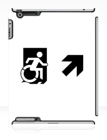 Accessible Means of Egress Icon Exit Sign Wheelchair Wheelie Running Man Symbol by Lee Wilson PWD Disability Emergency Evacuation iPad Case 150