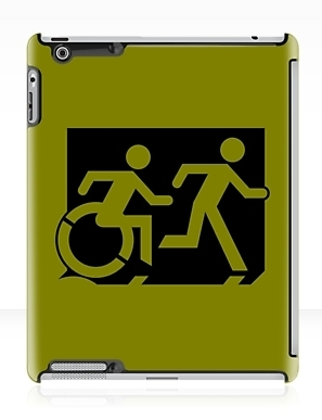 Accessible Means of Egress Icon Exit Sign Wheelchair Wheelie Running Man Symbol by Lee Wilson PWD Disability Emergency Evacuation iPad Case 15