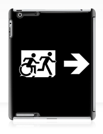 Accessible Means of Egress Icon Exit Sign Wheelchair Wheelie Running Man Symbol by Lee Wilson PWD Disability Emergency Evacuation iPad Case 151