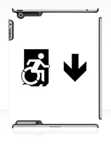 Accessible Means of Egress Icon Exit Sign Wheelchair Wheelie Running Man Symbol by Lee Wilson PWD Disability Emergency Evacuation iPad Case 152