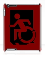 Accessible Means of Egress Icon Exit Sign Wheelchair Wheelie Running Man Symbol by Lee Wilson PWD Disability Emergency Evacuation iPad Case 153