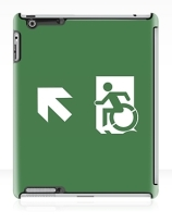 Accessible Means of Egress Icon Exit Sign Wheelchair Wheelie Running Man Symbol by Lee Wilson PWD Disability Emergency Evacuation iPad Case 154
