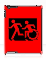 Accessible Means of Egress Icon Exit Sign Wheelchair Wheelie Running Man Symbol by Lee Wilson PWD Disability Emergency Evacuation iPad Case 155