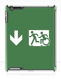 Accessible Means of Egress Icon Exit Sign Wheelchair Wheelie Running Man Symbol by Lee Wilson PWD Disability Emergency Evacuation iPad Case 156
