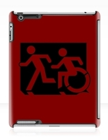 Accessible Means of Egress Icon Exit Sign Wheelchair Wheelie Running Man Symbol by Lee Wilson PWD Disability Emergency Evacuation iPad Case 157