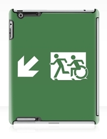 Accessible Means of Egress Icon Exit Sign Wheelchair Wheelie Running Man Symbol by Lee Wilson PWD Disability Emergency Evacuation iPad Case 158
