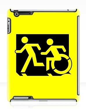 Accessible Means of Egress Icon Exit Sign Wheelchair Wheelie Running Man Symbol by Lee Wilson PWD Disability Emergency Evacuation iPad Case 159
