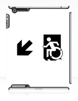 Accessible Means of Egress Icon Exit Sign Wheelchair Wheelie Running Man Symbol by Lee Wilson PWD Disability Emergency Evacuation iPad Case 160