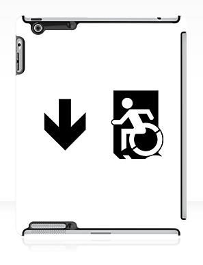 Accessible Means of Egress Icon Exit Sign Wheelchair Wheelie Running Man Symbol by Lee Wilson PWD Disability Emergency Evacuation iPad Case 161