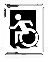 Accessible Means of Egress Icon Exit Sign Wheelchair Wheelie Running Man Symbol by Lee Wilson PWD Disability Emergency Evacuation iPad Case 162