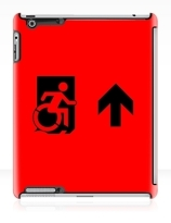 Accessible Means of Egress Icon Exit Sign Wheelchair Wheelie Running Man Symbol by Lee Wilson PWD Disability Emergency Evacuation iPad Case 163
